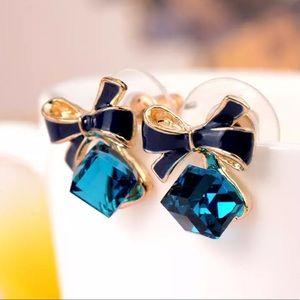 3/35 New Blue Cubic Zirconia Bow Stud Earrings